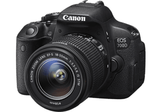 CANON EOS 700D Spiegelreflexkamera, 18 Megapixel, 18-55 mm Objektiv (IS), Touchscreen Display, Schwarz