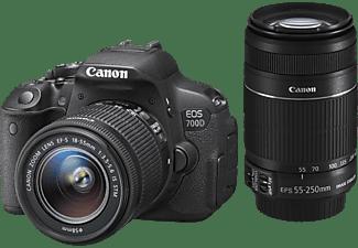 CANON EOS 700D Spiegelreflexkamera, 18 Megapixel, 18-55 mm, 55-250 mm Objektiv, Schwarz
