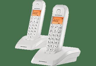 Teléfono - Motorola S1202 Dúo Blanco con Manos libres y 10 melodías
