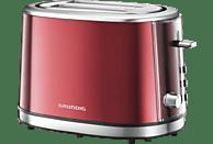 GRUNDIG TA 6330 Toaster Metallic/Rot/Edelstahl (850 Watt, Schlitze: 2)