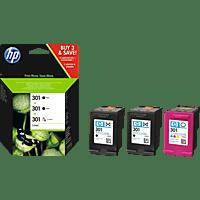 HP 301 Tintenpatrone 3er-Pack Schwarz/Cyan/Magenta/Gelb (E5Y87EE)