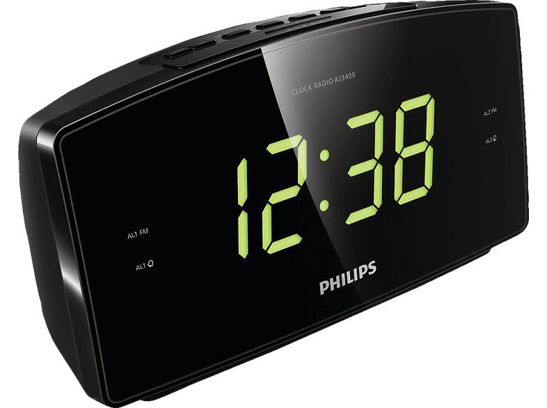 PHILIPS AJ3400/12 Radio-Wecker, FM Tuner, FM, AM, Schwarz