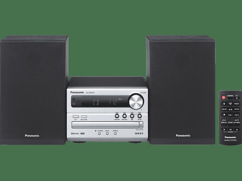 PANASONIC SC-PM 250 EG-S Kompaktanlage (CD, CD-R/-RW, USB, Silber/Schwarz)