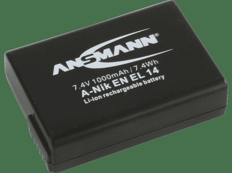 ANSMANN Akkupack A-Nik EN EL 14 Akku Nikon , Li-Ion, 7.4 Volt, 1000 mAh