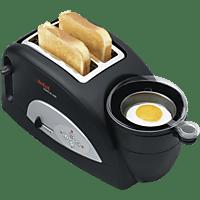 TEFAL TT 5500 Toast N' Egg Toaster Schwarz/Silber (1200 Watt, Schlitze: 2)