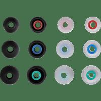 HAMA 12 Stück Silikon-Ersatzohrpolster  Schwarz/Rot, Schwarz/Blau, Schwarz/Grün, Transparent/Rot, Transparent/Blau, Transparent/Grün