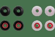 HAMA Silikon-Ersatzohrpolster, Größe S, 8 Stück Ohrpolster  Schwarz/Rot, Transparent/Rot