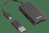 HAMA USB-2.0-OTG, Hub/Kartenleser, Schwarz