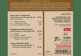 Yehudi Menuhin, Menuhin,Yehudi/RIASSO/Fricsay,F./Böhm,K. - Violinkonzerte/Chaconne  - (CD)