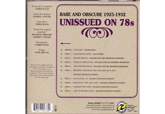 VARIOUS - Rare And Obscure 1925-1932: Unissued On 78s  - (CD)