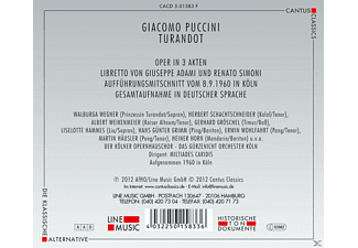 Walburga Wegner, Herbert Schachtschneider, Gerhard Gröschel, Liselotte Hammes, Albert Weikenmeier, Heiner Horn, Kölner Opernhauschor - Turandot  - (CD)