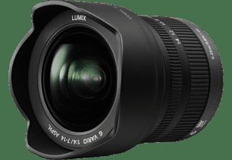 PANASONIC H-F007014E Lumix G Vario 7 mm - 14 mm f/4 ASPH (Objektiv für Micro-Four-Thirds, Schwarz)