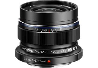 OLYMPUS M.ZUIKO DIGITAL ED 12mm 1:2.0 12 mm - 12 mm f/2 ED, MSC (Objektiv für Micro-Four-Thirds, Schwarz)