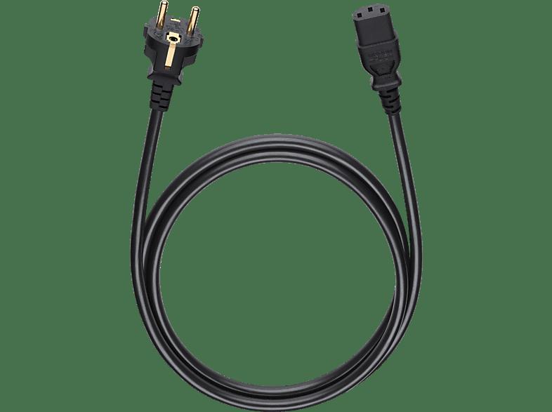 OEHLBACH Netzkabel mit Schukostecker und Kaltgerätekupplung Powercord C 13 150 Netzkabel, Schwarz