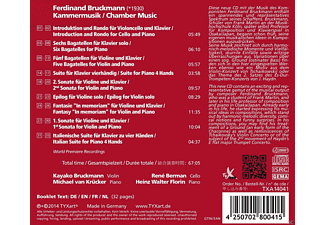 Kayako Bruckmann, Rene Berman, Heinz Walter Florin, Michael Van Kruecker - Chamber Music  - (CD)