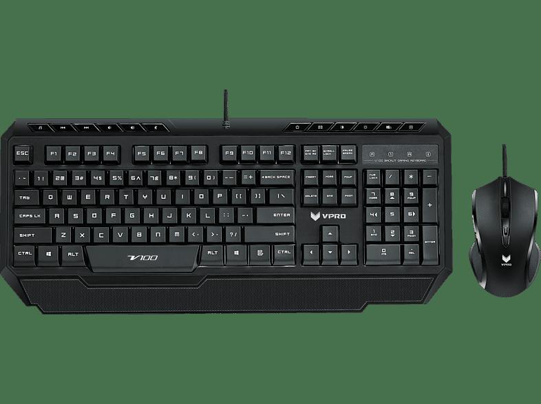 RAPOO V100 Gaming Bundle, Gaming Tastatur & Gaming Maus, Rubberdome