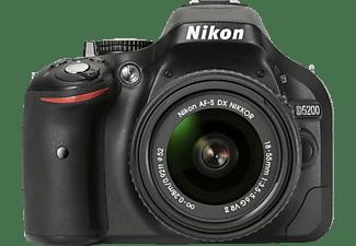 NIKON D5200 Spiegelreflexkamera, 24.1 Megapixel, 18-55 mm Objektiv (VRII), Schwarz