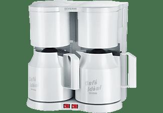 Severin Doppel-Kaffeemaschine Duo-Kaffeeautomat Weiß mit Thermoskanne KA 5827