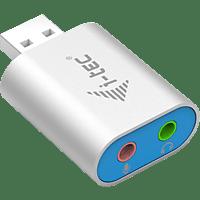 I-TEC U2AMETAL USB Audio Adapter, Silber-Blau
