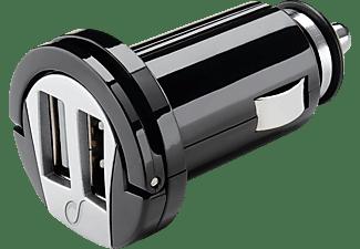 Cargador de coche para móvil - Cellular Line, negro, con doble puerto USB