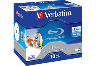 VERBATIM BD-R SL 25GB* 6x Printable 10 Pack Jewel Case