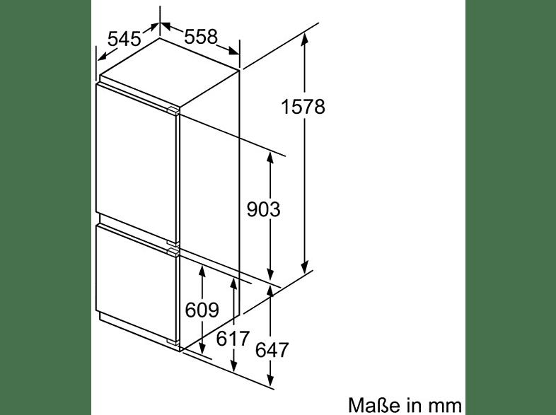 NEFF KG 635 A2 - KI6773F30 Kühlgefrierkombination (A++, 201 kWh, 1578 mm hoch, Einbaugerät)