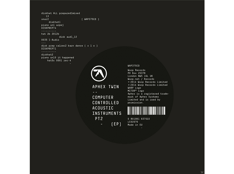 Aphex Twin - Computer Controlled Acoustic Instruments Pt2 Ep [CD]