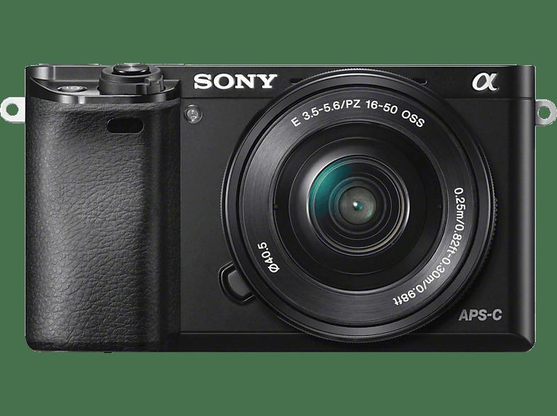 SONY Alpha 6000 KIT (ILCE 6000L) + Tasche + Speicherkarte Systemkamera 24.3 Megapixel mit Objektiv 16 50 mm , 7.5 cm Display , WLAN
