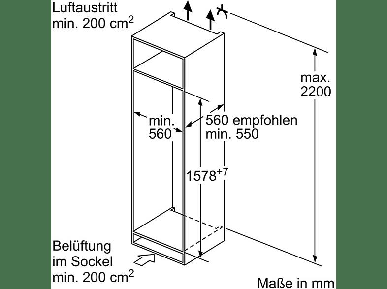 BOSCH KIV77VS30 Kühlgefrierkombination (A++, 212 kWh/Jahr, 1578 mm hoch, Einbaugerät)
