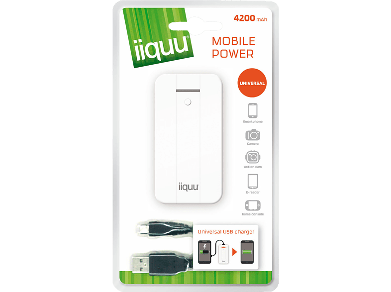 IIQUU 535IQMP42915874 Powerbank Universell , Li-Ion, 4200 mAh