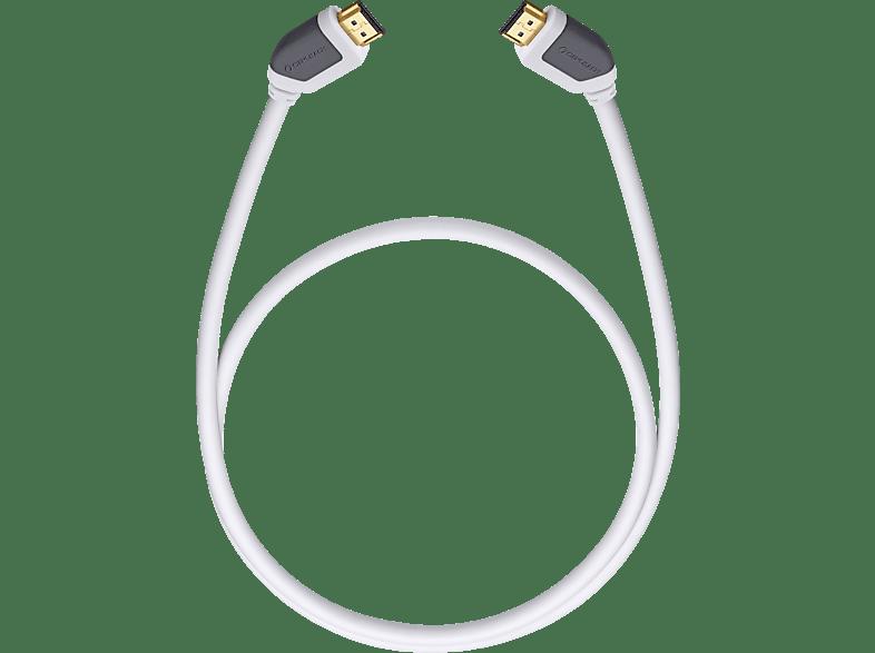 OEHLBACH High-Speed-HDMI®-Kabel mit Ethernet Shape Magic 220 2,2m HDMI Kabel, Weiß