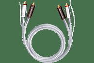 OEHLBACH Silver Express Plus Phono NF Audio-Cinchkabel mit zusätzlicher Masseleitung 0,5m Audio Kabel, Silber