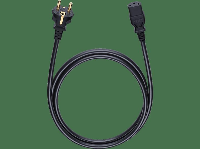 OEHLBACH Netzkabel mit Schukostecker und Kaltgerätekupplung Powercord C 13 500 Netzkabel, Schwarz