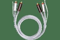 OEHLBACH Silver Express Plus Phono NF Audio-Cinchkabel mit zusätzlicher Masseleitung 1m Audio Kabel, Silber