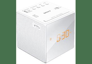 Despertador - Sony ICF-C1W, Radio AM/FM, Alarma, Batería de reseva, Blanco