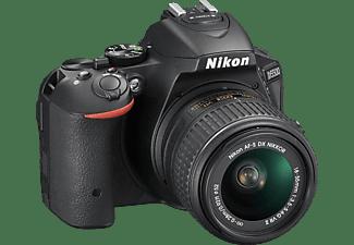 NIKON D5500 Spiegelreflexkamera, 24.2 Megapixel, 18-55 mm Objektiv, WLAN, Schwarz