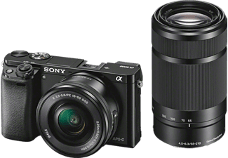 SONY Alpha 6000 ZOOM+TELEZOOM KIT (ILCE-6000Y) Systemkamera mit Objektiv 16-50 mm, 55-210 mm f/3.5-5.6, f/4.5-6.3, 7,6 cm Display, WLAN