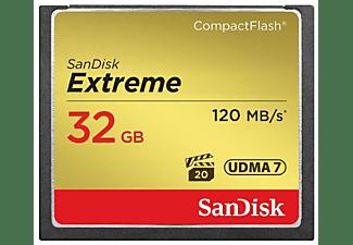 Tarjeta Compact Flash - SanDisk Extreme, 32 GB, 120 MB/s, VPG-20, UDMA 7, Full HD Video, Multicolor