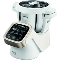 KRUPS HP5031 Prep&Cook Küchenmaschine mit Kochfunktion Weiß/Grau/Edelstahl (Rührschüsselkapazität: 4,5 Liter, 1550 Watt)