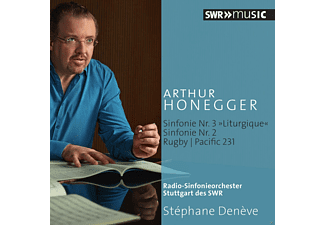"""Stèphane Denève, Radio-Sinfonieorchester Stuttgart des SWR - Sinfonie Nr. 3 """"liturgique"""" / Sinfonie Nr. 2 / Rugby / Pacific 231  - (CD)"""