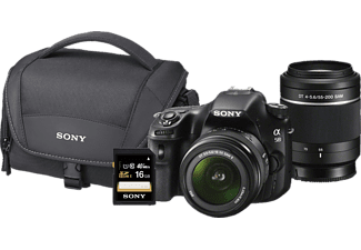 SONY SLT-A58 YCDI.YD Spiegelreflexkamera, 18-55 mm, 55-200 mm Objektiv, Schwarz