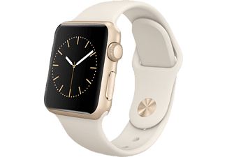 APPLE Watch 38 mm Aluminium mit Sportband (MLCJ2FD/A) Smart Watch, Gold/Antique Weiß