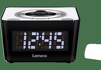 LENCO CR-16 Uhrenradio, PLL FM Radio, Schwarz/Weiß