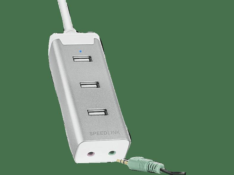 SPEEDLINK BARRAS Supreme, USB-HUB mit integrierter Soundkarte, Silber