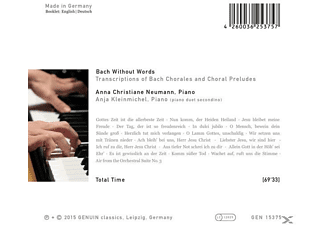 Anna Christiane Neumann, Anja Kleinmichel - Bach Without Words: Transcription Of Bach Chorales  - (CD)
