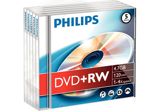 PHILIPS Pack 5 DVD+RW 4.7 GB 4x (DW4S4J05F/10)