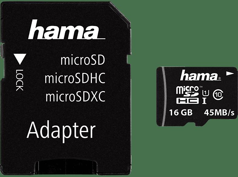 HAMA 114733 , Micro-SDHC Speicherkarte, 16 GB, 45 MB/s