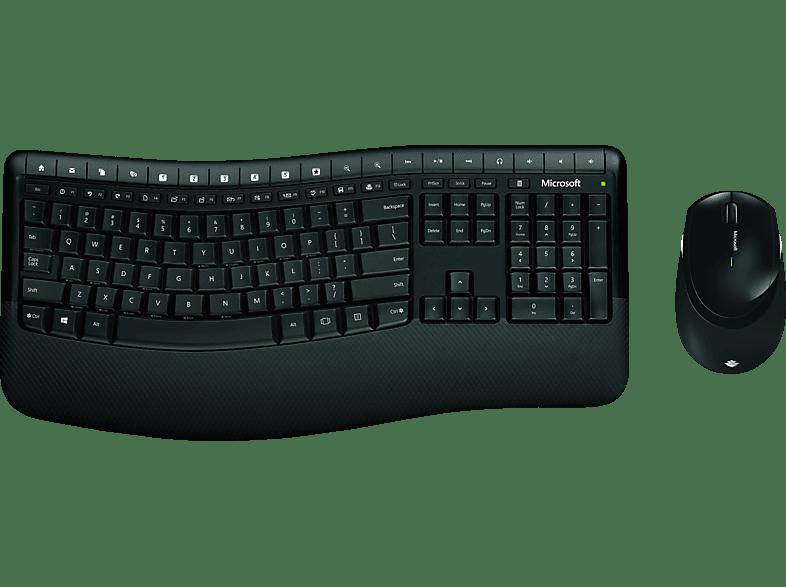 MICROSOFT Wireless Comfort Desktop 5050, Maus-Tastatur-Set, Schwarz