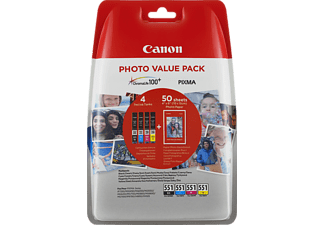 CANON CLI-551 C/M/Y/BK Tintenpatrone Photo Value Pack mehrfarbig (6508B005AA)