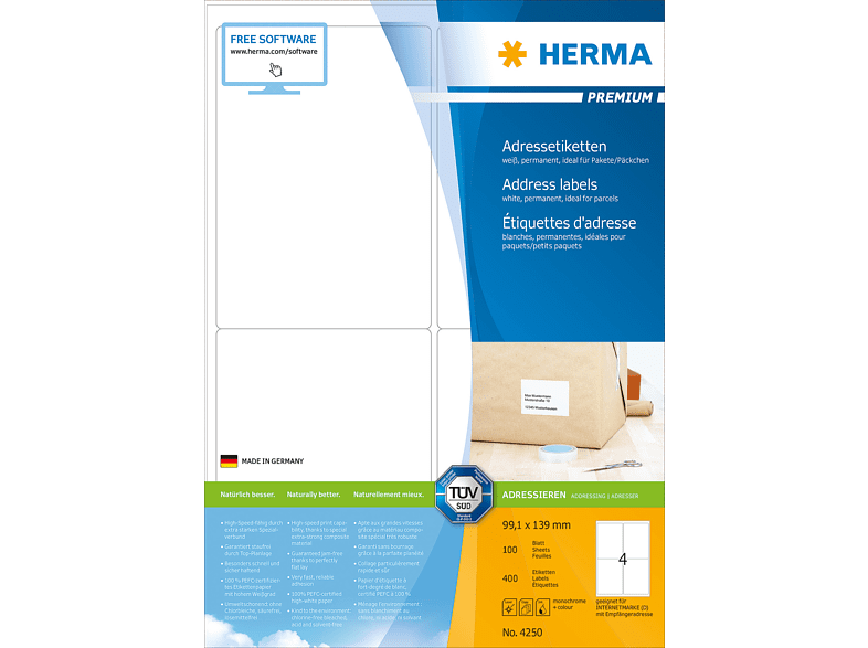 HERMA 4250 Adressetiketten  99.1x139 mm A4 400 St.